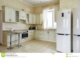 100 Modern Residential Interior Design Of Kitchen In House Or Hostel Stock Photo