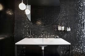 balck und weißen möbel mosaik fliesen runde spiegel moderne