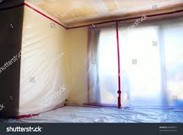 Popcorn Ceiling Asbestos Danger by Room Covered Clear Plastic Sheeting After Stock Photo 65966917