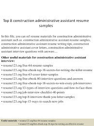 Top 8 Construction Administrative Assistant Resume Samples In This File You Can Ref Materials