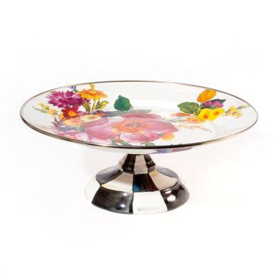 MacKenzie-Childs Flower Market Small Pedestal Platter - White