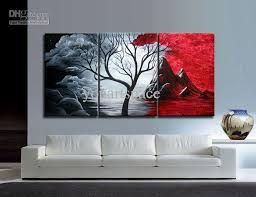 White Canvas Cheap 3 Piece Wall Art Big Size Paintings Two Tone Colors Magnificent Nature Opposite