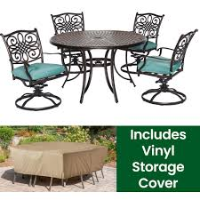 Hanover Traditions 5-Piece Aluminum Round Outdoor Dining Set With Swivel  Chairs, Protective Cover And Blue Cushions Plastic Ding Chair Covers Amazing Room Seat Hanover Traditions 5piece Alinum Round Outdoor Set With Protective Cover And Natural Oat Cushions Amazoncom Yisun Modern Stretch 10 Best Of 2019 For Elegance Aw2k Spandex Polyester Slipcover Case Anti Dirty Elastic Home Decoration Cheap New Decorative Coversbuy 6 Free Shipping Protectors Ilikedesignstudiocom Chairs 4pcs 38 Fresh Stocks Leather Concept In Fabric Slip Covers For Hotel Banquet Ceremony Hongbo 1pcs Minimalist Plant Leaves