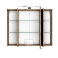 bad spiegelschrank 3 türig mit beleuchtung 80 cm breit wotan eiche