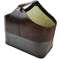 100 Interiors Online Magazine Leather Basket Dark INTERIORS ONLINE