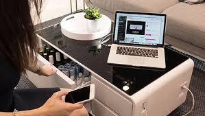 sobro wohnzimmertisch mit eingebautem kühlschrank