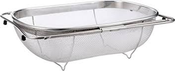 over the sink strainer 6 quart stainless steel fine mesh sieve
