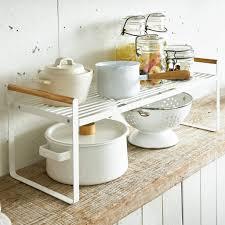 yamazaki küchenregal regal küchen organizer 60x22cm weiß metall mit holzgriffen tosca 03803