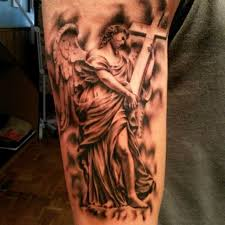 Religion Tattoo Of Angel With Cross