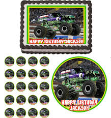 Grave Digger Monster Truck Jam Edible Birthday Cake Cupcake Toppers ... Personalised Monster Truck Edible Icing Birthday Party Cake Topper Buy 24 Truck Tractor Cupcake Toppers Red Fox Tail Tm Online At Low Monster Trucks Cookie Cnection Grave Digger Free Printable Sugpartiesla Blaze Cake Dzee Designs Jam Crissas Corner Cake Topper Birthday Edible Printed 4x4 Set Of By Lilbugspartyplace 12 Personalized Grace Giggles And Glue Image This Started