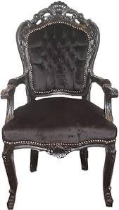 casa padrino barock esszimmer stuhl schwarz schwarz mit armlehnen