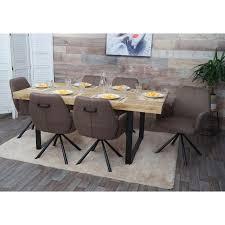 6x esszimmerstuhl hwc h71 küchenstuhl lehnstuhl stuhl stoff textil stahl braun
