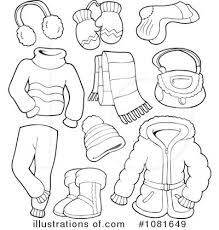 Winter Clothes Black And White Clipart 1
