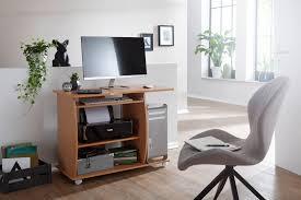 finebuy computertisch david rollbar buche 90 x 71 x 50 cm mit tastaturauszug laptop tisch auf feststellbaren rollen pc tisch mit drucker ablage