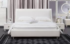 Barbara White Modern Bed With Crystal Button Tufting The Holland