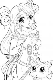 Cute Anime Coloring Pages And Cat