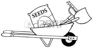 Outline Barrow With Seeds A Rake And Shovel Vector