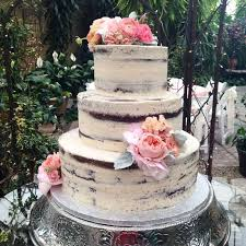 Naked Buttercream Cake With Big Pink Flowers For A Romantic Rustic Wedding