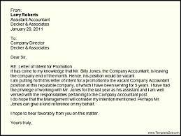 Letter Intent Sample for Job Promotion