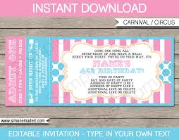 Carnival Tickets Template Free Printable By Ticket Invitations Circus