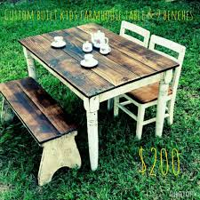 Childs Farmhouse Table Set Table And 2 Benches $200 (Chairs ... Lindsey Farm 6piece Trestle Table Set Urban Chic Small Ding Bench Hallowood Amazoncom Vermont The Gather Ash 14 Rentals San Diego View Our Gallery Lots Of Rustic Tables Jesus Custom Square Farmhouse Farm Table W Matching Benches Reclaimed Chestnut Wood Harvest Matching Free Diy Woodworking Plans For A Farmhouse Handmade Coffee Ashley Distressed Counter 4 Chairs Modern Southern Pine Wmatching Bench