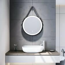sonni badspiegel rund led beleuchtung touch beschlagfrei wandspiegel badezimmerspiegel 60cm