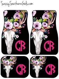 Chevrolet Cruze Floor Mats Uk by Monogrammed Car Floor Mats Bull Skull Car Mats Floral By