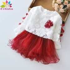 christmas baby girls dress winter long sleeve lace flower princess