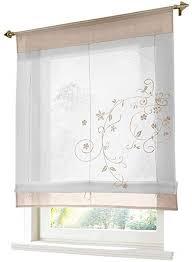 eslir raffrollo weiß raffgardine transparent vorhänge küche gardinen bändchenrollo tunnelzug bestickt voile sand bxh 60x120cm 1 stück