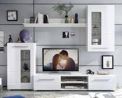 wohnwand b 240 x h 190 cm weiß hochglanz