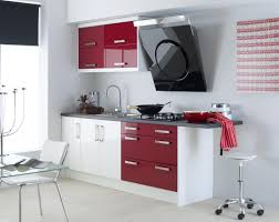 Decorating Kitchen Large Size Quirky Wall Color Schemes Idea Using Red And White Cabinet On