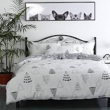 Minimalistic Black And White Cartoon Christmas Tree Pattern Bedding Set Quality Duvet Cover Bed Beddings Queen Size King Covers Sale