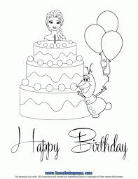 Elsa And Olaf With Cake Coloring Page