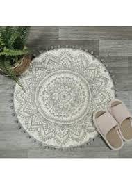 uphome runder kleiner teppich 61 cm mit schickem pompon