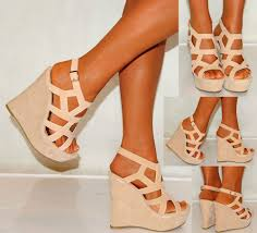 yarn tie up wedge high heels beige on chiq 52 50 http www