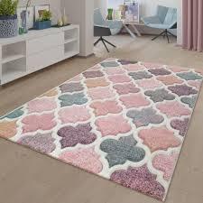 teppich rosa bunt wohnzimmer orient design pastellfarben marokkanisches muster größe 200x290 cm