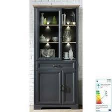 details zu wohnzimmer vitrine grau standvitrine led esszimmer buffetschrank vitrinenschrank