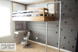 industrial loft bed with rock wall and fireman u0027s pole