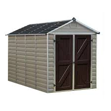 palram 6 ft x 10 ft tan skylight shed 703390 the home depot