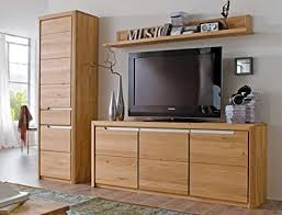 wohnwand pisa 33 eiche bianco massiv 3 teilig medienwand tv