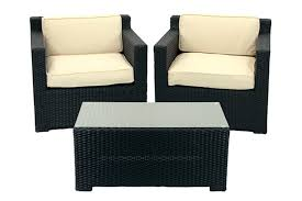 Outdoor Patio Chair Cushions Walmart by 3 Piece Black Resin Wicker Outdoor Patio Furniture Set Beige