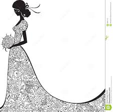 Wedding Dress clipart black and white 8