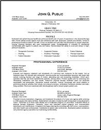 Massage Therapist Resume Objective Physical Therapy Examples Federal 1 Format Free Download
