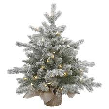 2ft Pre Lit White Flocked Pine Artificial Christmas Tree With