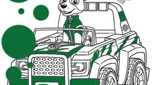PAW Patrol Tracker Vehicle Colouring Page