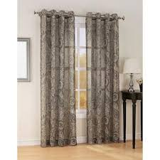jaclyn smith celeste print textured semi sheer grommet window