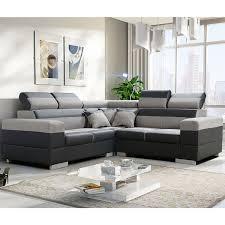canapé polyester canapé d angle réversible tissu gris 100 polyester pvc noir