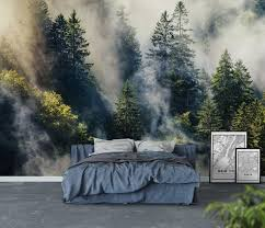 smoky forest wall mural today pin tapete schlafzimmer