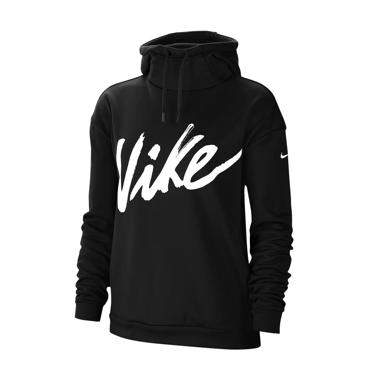 Nike Womens Therma Fleece Hoodie Black/White Size Women's Medium