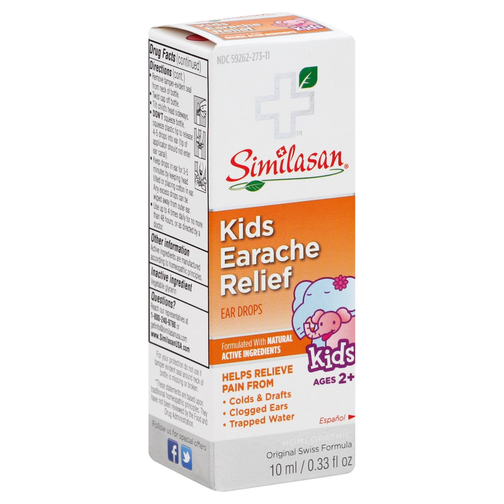 Similasan Kids' Ear Relief Homeopathic Ear Drops - Ages 2+, 0.33 fl oz